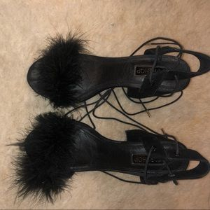 Chunky Faux Fur Topshop heels
